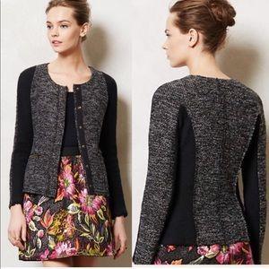 Anthro Cartonnier Tweed Metallic Knit Jacket